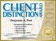 Client Distinction Award | Benjamin A. Post | Recognized For Excellence Quality of service overall value Responsiveness communication ability